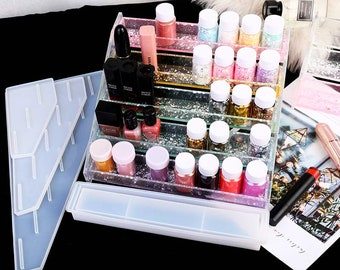 9 Holed Resin Lipstick Organiser with Flowers Glitter and Gold Leaf. Resin Lipstick Storage