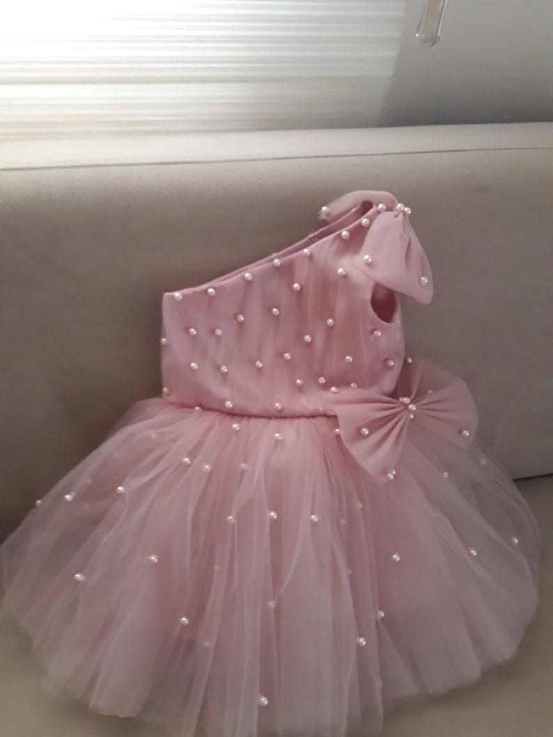 Beautiful Ankle Garment Girls Fancy Dress Long Girl Dress GRETA pearl Tulle Flower Girl Dress Blush Dress Wedding Bridesmaid Dress