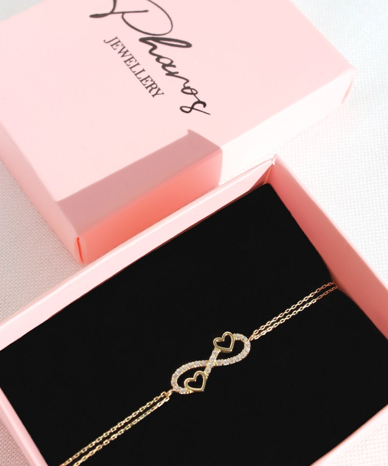Heart and Infinity Symbol Bracelet 14K Solid Gold  Double Heart Bracelet  Eternity Bracelet  Bridal Jewelry  Valentine/'s Day Gift