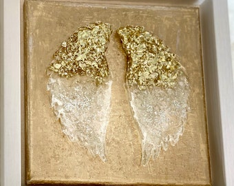 READY TO SHIP 9x9 foil angel wings in resin. shadow box-  you choose color combo