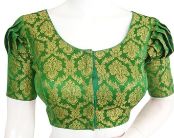 Gold  Color Brocade Silk Readymade Saree Blouse with Puff Sleeves and Matching Mask