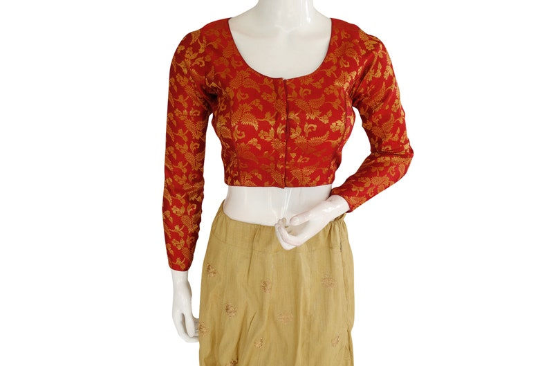 Maroon Color Brocade Silk Designer  Readymade saree blouse  With Full Sleeves