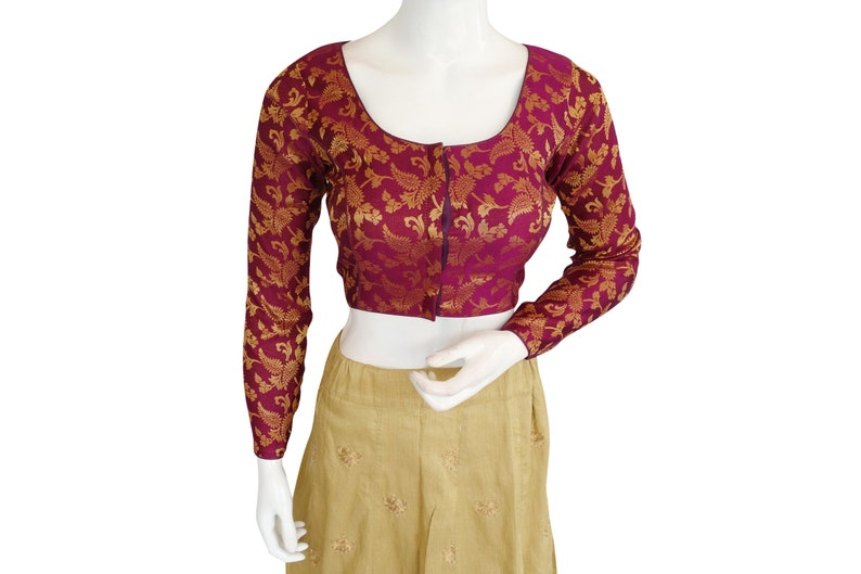 Purple   Color Brocade Silk Designer  Readymade saree blouse  With Full Sleeves