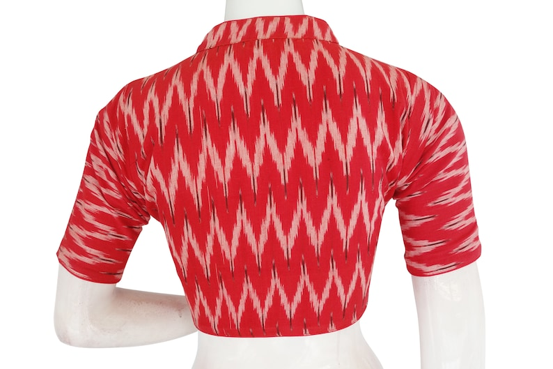 Indian Saree Blouse Crop top Tunic top Ikkat Collar Readymade Blouses