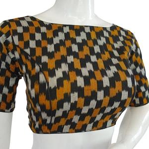 Tunic top Ikkat Cotton Boat Neck  Readymade  Saree blouses Indian Readymade  blouse Crop top