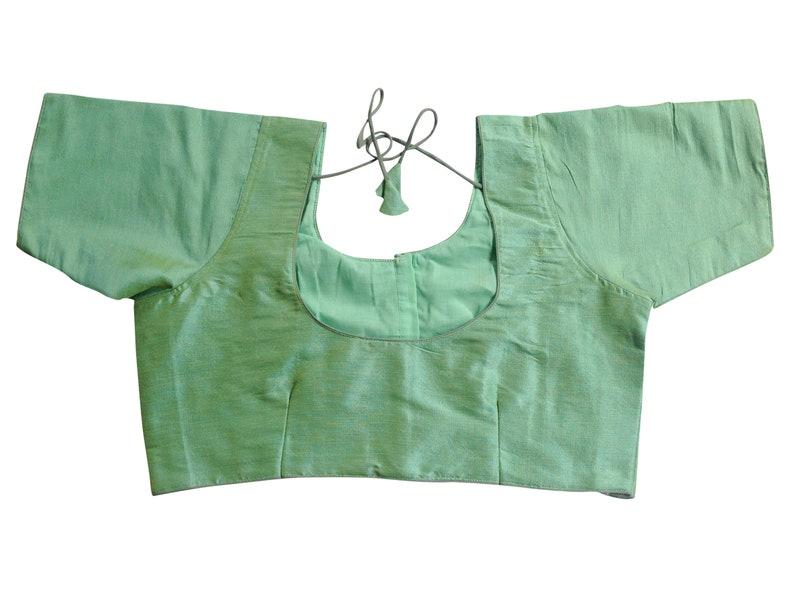 Green  Color Plus Size Plain Semi Silk Readymade Blouses Indian Saree Blouse