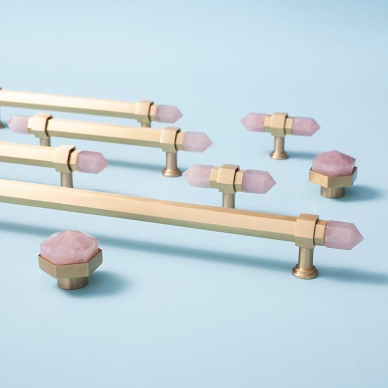 Gold luxury brass and Rose Pink quartz hexagonal bar cabinet image 0