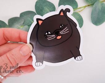 Chonky Kitty Magnet | Cute Feline Character Fat Black Cat Drawing Refrigerator Accessory Fridge Accessories Dorm Locker Decoration