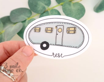 Rest Trailer WATERPROOF Sticker | Weatherproof Hand Illustrated Pacific Northwest Hiking Outdoors Art Camping