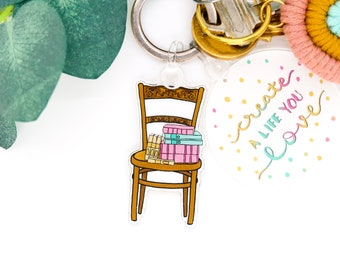 Book Chair Keychain | Bookworm Small Cute Gifts Keyring Accessory Minimalist Accessories Purse Bag Charm