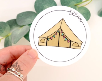 Relax Tent WATERPROOF Sticker | Weatherproof Hand Illustrated Pacific Northwest Hiking Outdoors Art Camping