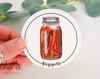 Jarred Red Peppers WATERPROOF Sticker | Weatherproof Dishwasher Safe Illustrated Cartoon Food Glass Canned Jar Red Pepper Vegetable