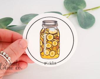 Jarred Pickles WATERPROOF Sticker | Weatherproof Dishwasher Safe Illustrated Cartoon Food Glass Canned Jar Pickles Vegetable