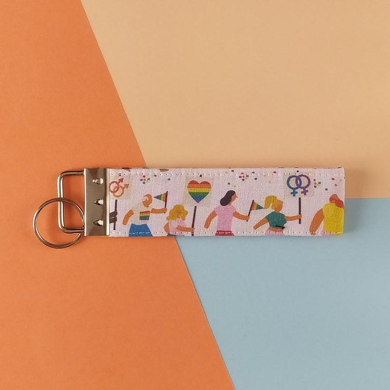 Fabric wrist keychain Fabric lanyard for keys and cards Wristlet keychain Gay pride. Key chain pride Lgbt bracelet keychain