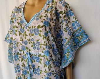 Indian Cotton Women Long Paisley Print Natural Night Tunic Swim Cover Top Kaftan Traditional Design A Line One Plus Size Hobo Kimono Caftan