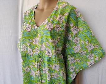 Indian Cotton Natural Night Tunic Cover Beach Party Comfy Sleep wear Block print Soft Garment Care Hobo A Line Maternity kurta Kaftan Kimono