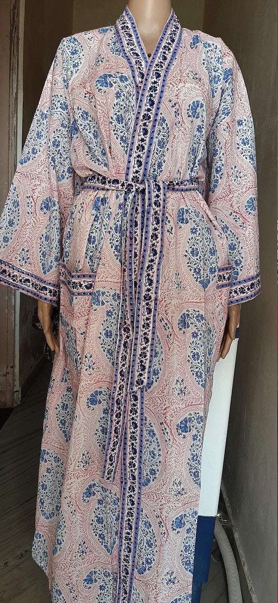 Indian Women Long Cotton Contrast Kurta Caftan Hand BlockPrint Ethnic Anokhi Design Beach Cover up Kimono Robe Vintage Bohemian Summer Dress