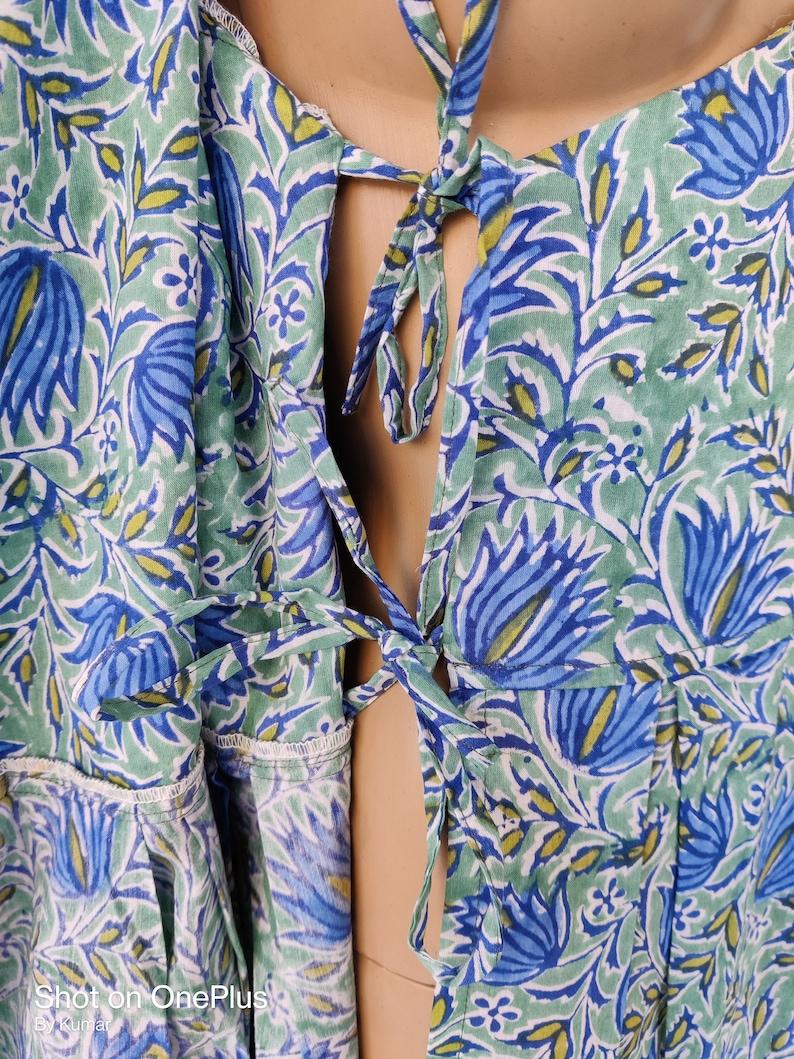 Indian Cotton Bridesmaid Dressing Hand block Print Natural Running Handmade Floral Beach Robe Maternity Wear Garment Care A Line Kurta Dress