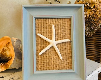 Coastal Nautical Decor 11 x 14 Colored Seashell and Starfish Frame Beach Decor Shell Frame Seashell Gift Beach Decor