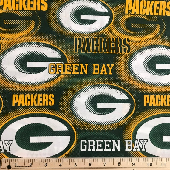 1 4 Yard Green Bay Packers Large Logo Dot Rare Nfl Fabric Etsy
