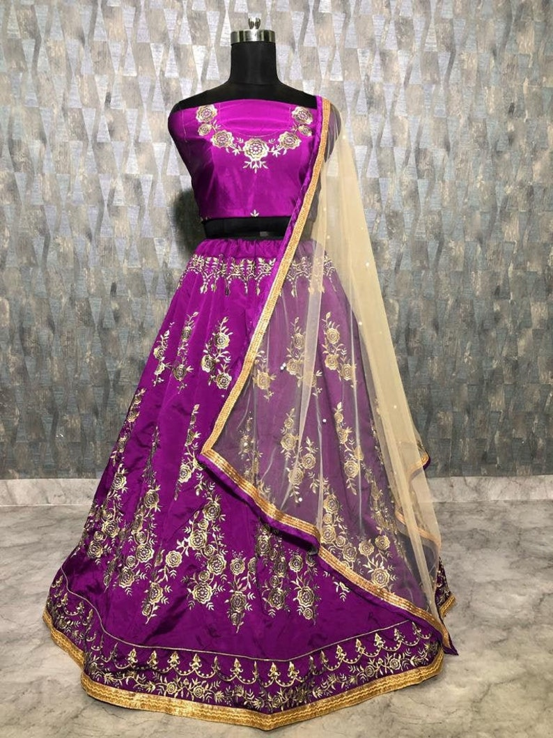 Lehenga Choli For Women Purple Color Lehenga Embroidery Work Wedding Bridal Lengha Choli With Net Dupatta Indian Party Wear Stitched Skirt
