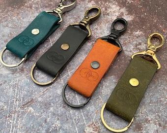 Personalised Keyring, Choice of Colours, Italian Leather Keyring, Leather Keyfob