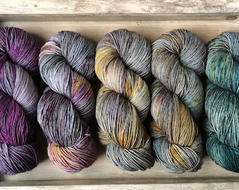 Blue Steel 50gr Skein Hand Dyed Wool Sock Yarn One of a Kind Ships From Canada