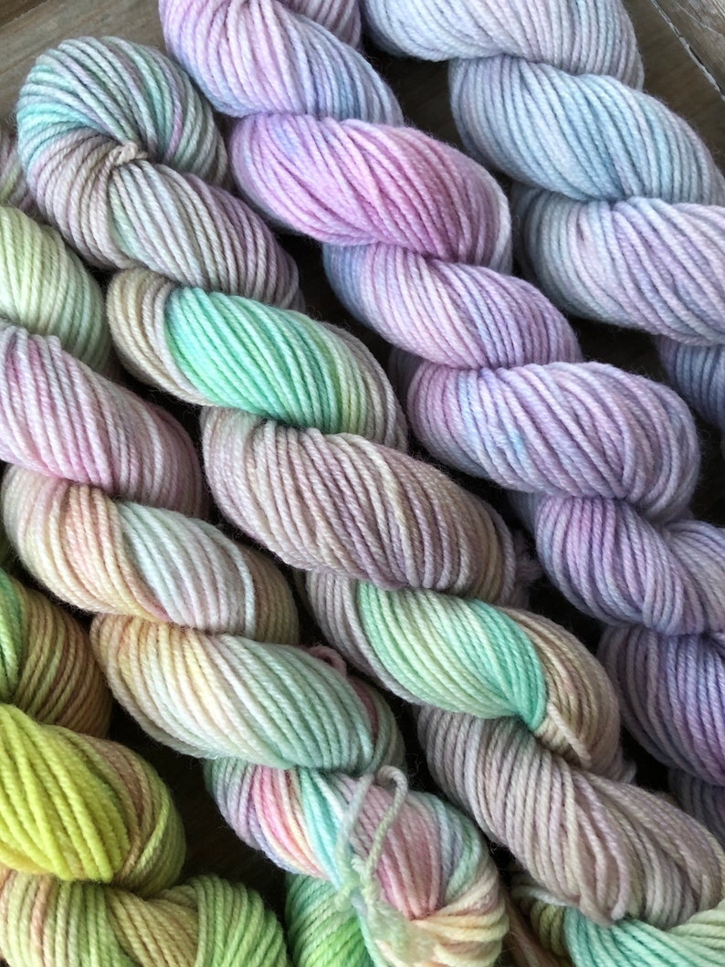10 Minis20grams87yards each Hidden Pond Yarns Summer Neons Mini Skein Set of Hand Dyed Yarns