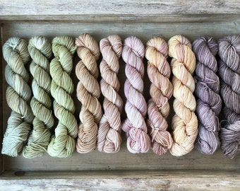 Squishy Sock Base Mini Set - Hand Dyed Yarn - 10 Minis/20grams/87yards each