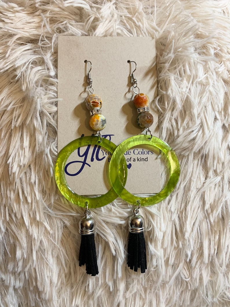 Green and multi colored medium beaded dangle earrings with image 0