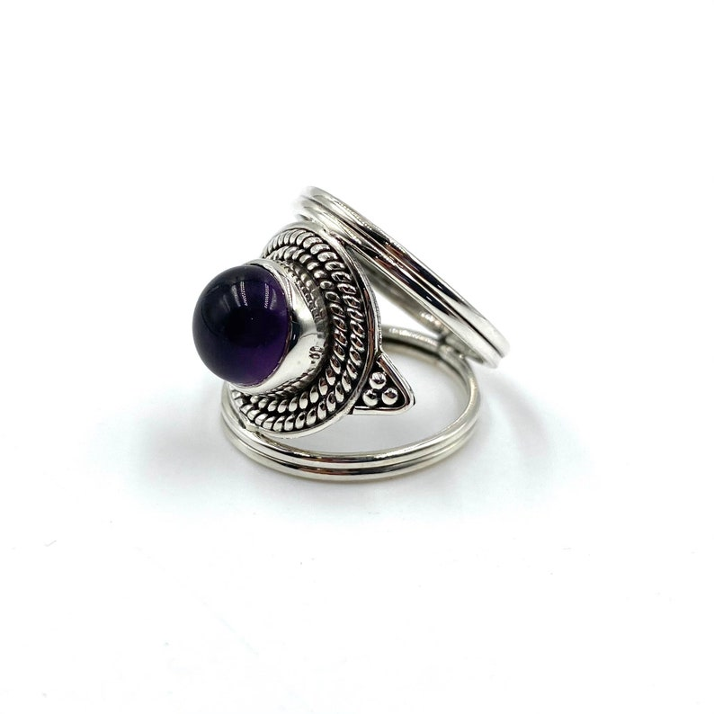 925 Sterling Silver Oxidised Jewellery Boho Jewellery Big Ring Natural Amethyst Ring Birthstone Ring