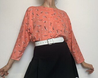 """Vintage 80s 90s """"Your Sixth Sense"""" Shirt Long Sleeve Top with Print crazy Pattern Button Placket 40"""