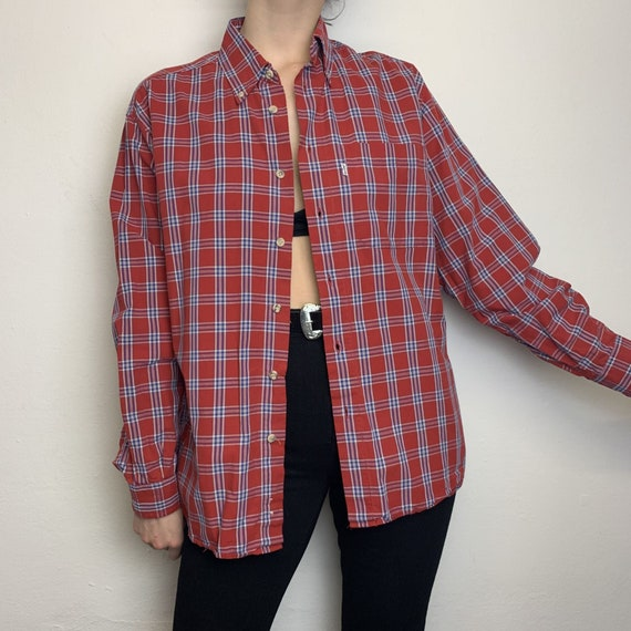 Vintage 80's Shirt Long Sleeve Red/Blue Checkered