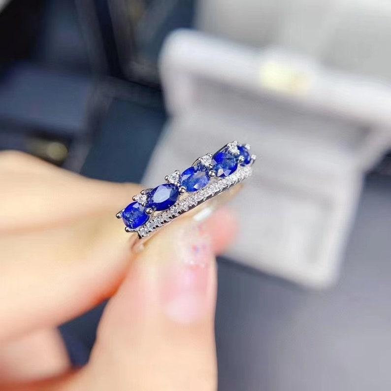 Sterling silver Ring Elegant /& Dainty Sri Lankan Nature 3*4 mm Sapphire Ring Women/'s Ring\uff0cBest Gift for Her blue Gemstone Ring