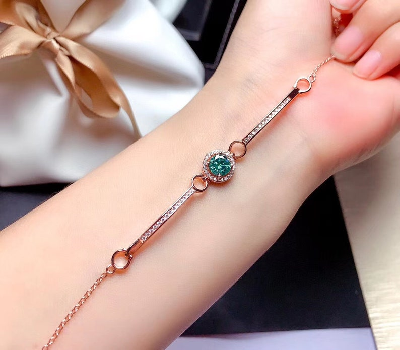 Anniversary gift Adorable Delicate Brilliant Green Moissanite bracelet 1ct D Color Engagement ring gift for her Promise jewelry
