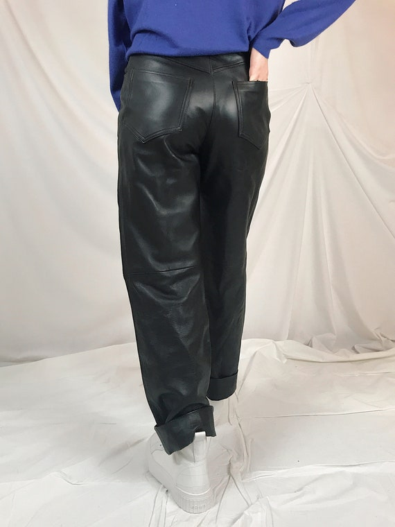 Real dark brown leather trousers