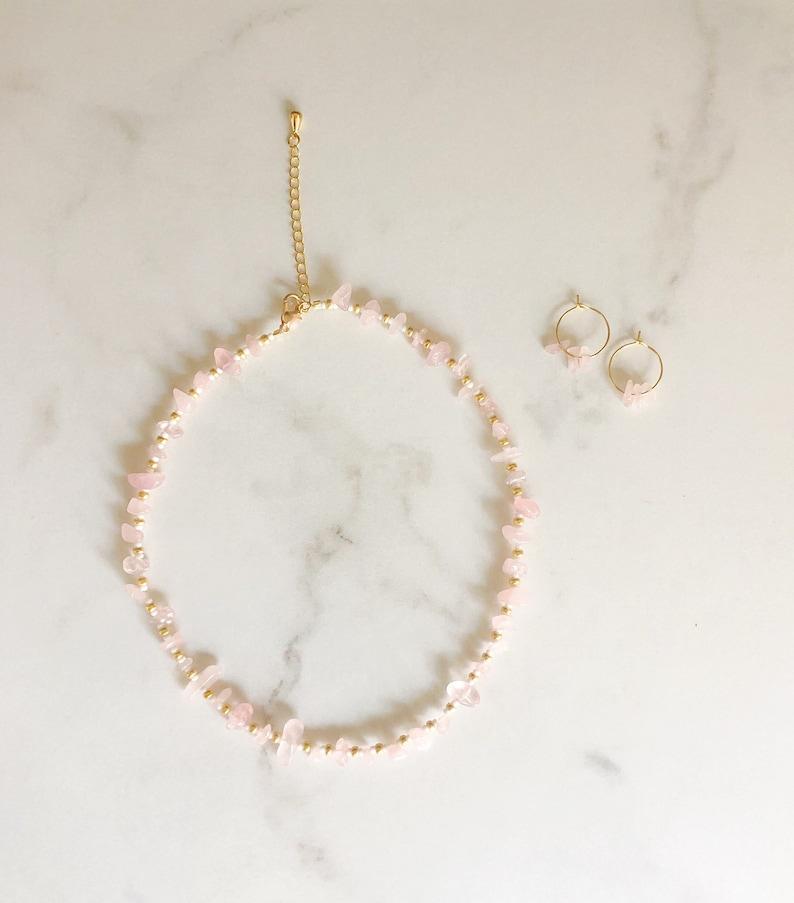 Rose Quartz and Gold Necklace