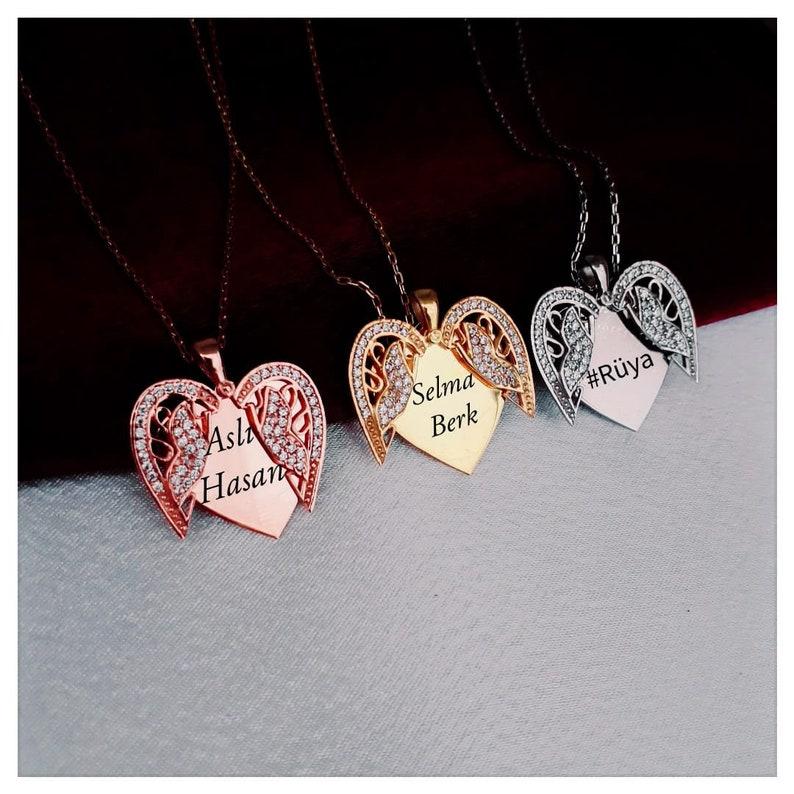 Personalized Secret Message Charm \u2022 Custom Name Choker Custom Angel Wing Necklace 925K Silver Openable Personalized Angel Wing pendant