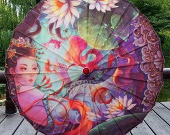 Chinese Style Women Umbrella Silk Lotus Umbrella Japanese style decorative wooden dance umbrella paper