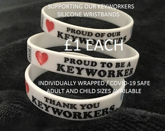 2020 Keyworker Frontline Silicone Wristbands All Individually Wrapped