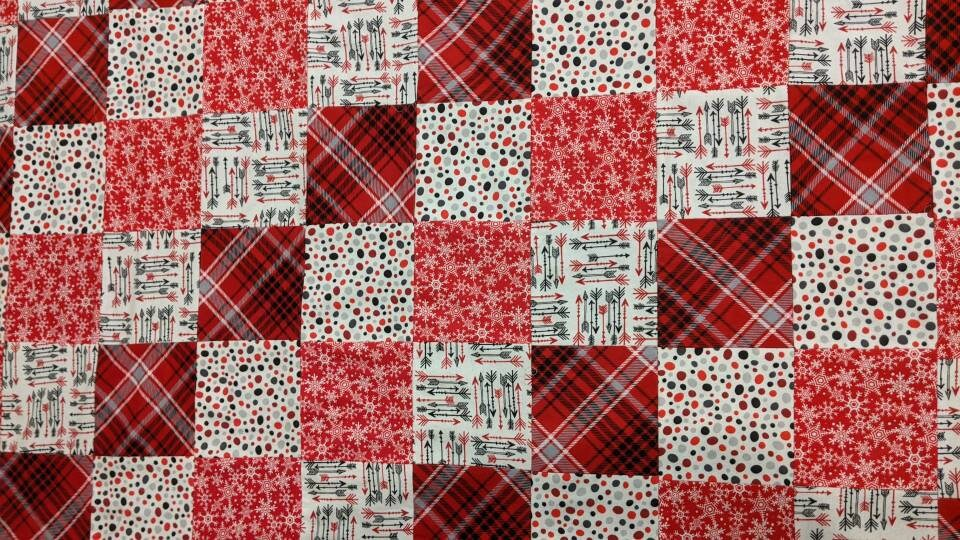 Handmade Red, White, and Black Soft Baby Quilt