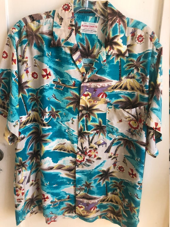 Vintage 1950s ALOHA SHIRTS Hand Screened Hawaiian