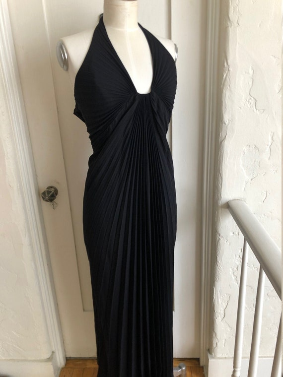 VINTAGE 1970'S DRESS pleated halter from CLIMAX by