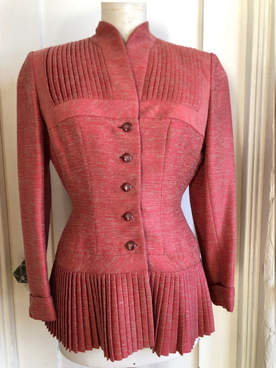 STUNNING *Rare* LILLI ANN Coral Pleated Jacket