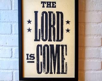 Joy to the World sign, Christian Christmas Decor, Christmas Hymn Print, holiday mantle decor, winter table decor, nativity art, Letterpress