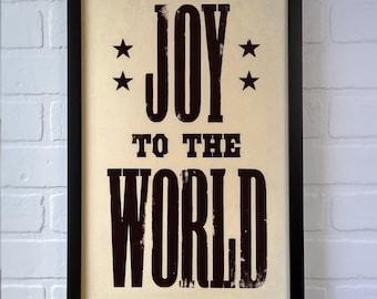 Joy to the World sign, Christmas Lyric, Christmas Song, Christmas Letterpress, Hymn Wall Art, Black Christmas Decor, Christian Christmas