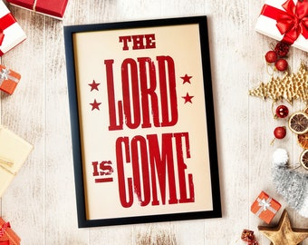 Joy to the World print, Red and White, Christian Christmas decor, Christmas Letterpress, Country Christmas Sign, Christmas Hostess Gift