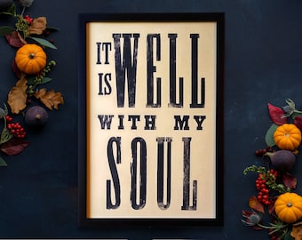 It Is Well with my Soul Wall Art, Fall Christian Decor, Christian Music Decor, Farmhouse Entry, Christian Mom Gift, Sunday School Teacher