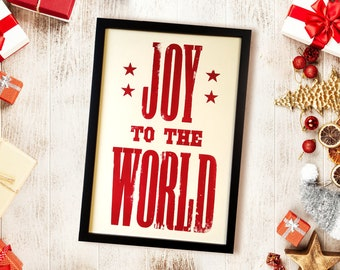 Joy to the World sign, Christmas hostess gifts, farmhouse Christmas decor signs, winter decorations for home, country Christmas mantel decor