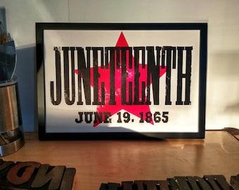 JUNETEENTH Art, Letterpress Poster, Freedom Day, Black woman gift, black man gift, African American decor, Juneteenth print, wall art,
